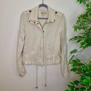 Lucky Brand White Linen Jacket Sz L